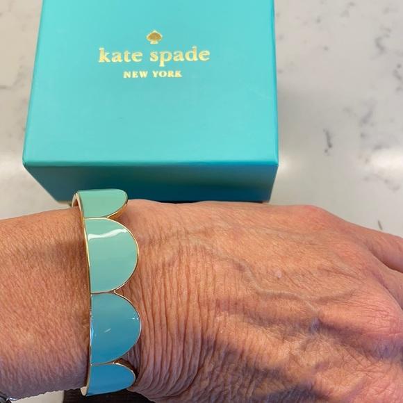 NEW Kate Spade Aqua Blue &Gold Enamel Cuff Bracelet